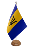 Barbados Desk / Table Flag with wooden stand and base